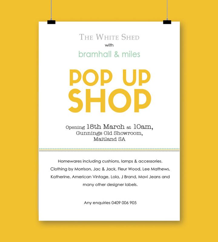 Bramhall and Miles Pop-up shop promotional poster