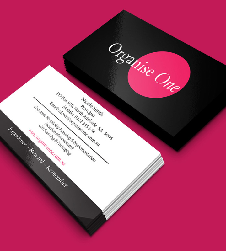 Organise One business card design.